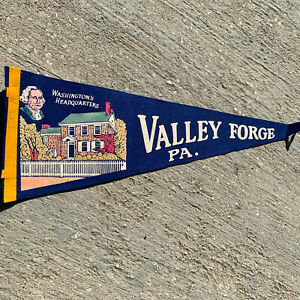 Vintage-Valley-Forge-PA-Washington-s-Headquarters-Blue-Pennant-24-No-Tassel