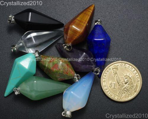 Piedras Preciosas Naturales Hexagonal Pirámide Señaló cuentas colgante de curación reiki chakras
