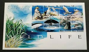 1996-New-Zealand-Wildlife-Birds-Heron-Whale-Dolphin-Seal-Penguin-6v-Stamps-FDC
