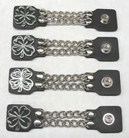 4 Pieces Genuine Leather Shamrock 4 Leaf Clover Vest Chain Extenders Made in USA