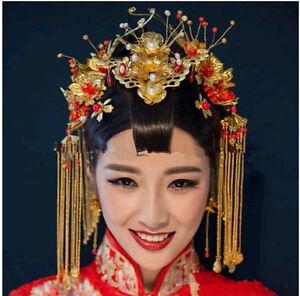 Image Is Loading Chinese Bridal Headband Barrette Forehead Decor Hair Band