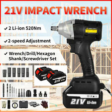 5in1 21v Cordless Electric Impact Wrench Nut Gun 12 Driver 520nm 2 Batteries