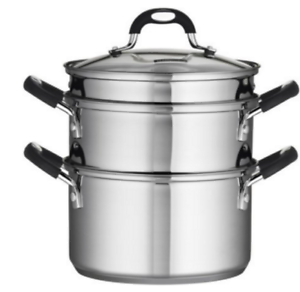 18 10 Pot Stainless Steel 4-Piece 3-Quart Steamer Double-Boiler with Glass Lid