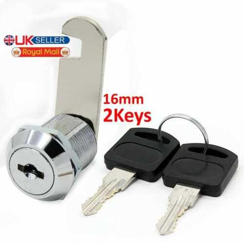 2 Key UK 16mm Cam Lock for Door Cabinet Mailbox Drawer Cupboard Locker