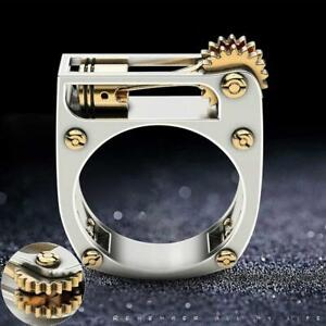 Mode-Metall-geometrische-mechanische-Getriebe-Punk-Unisex-Ring-Hochzeit-Schmuck