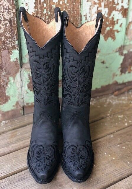 Circle G by Corral Black Filigree Embroidered Snip Toe Western Western Western Boot L5433 87247f