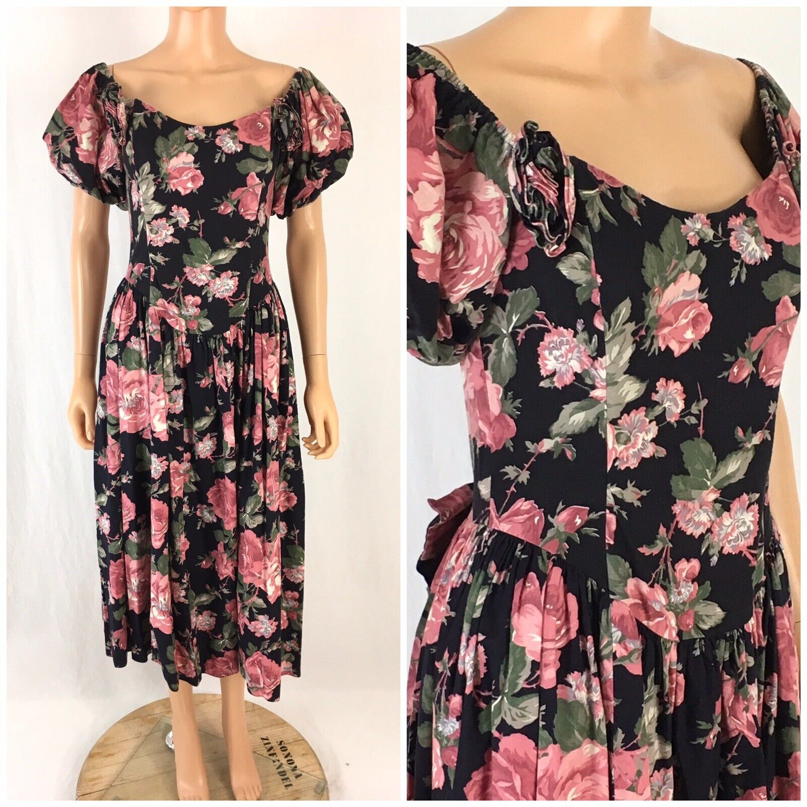 Vtg. 80s Gunne Sax Floral Garden Tea Dress Puff Sleeve Bow Jessica McClintock M
