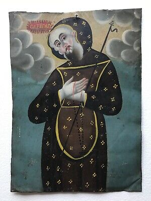 Antique-retablo-Mexico-spanish-colonial-art-folk-art-oil-on-tin
