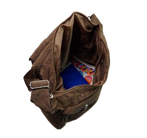 Neu Bag Street Umhängetasche Schultertasche Nylon Sportliche Damen Tasche Braun