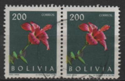 Herrlich Bolivien 1962 Minr.: 672 Hibiscus Paar Gestempelt; Scott 459 Used Yt: 426 , Obl.