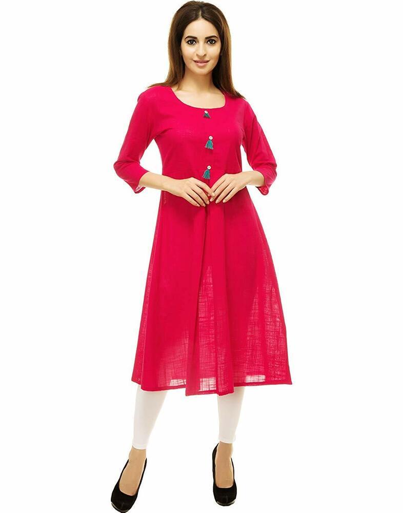 DéLicieux Poly Coton Couleur Rose A-line Kurta Pour Femmes RéSistance Au Froissement