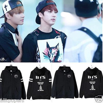Kpop BTS Zipper Sweatershirt Bangtan Boys Coat Unisex Jacket Jungkook Jimin Suga