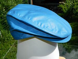 Flat Cap / Ivy Cap / Driving Cap / Solid Blue / Made in USA / Large / Deadstock