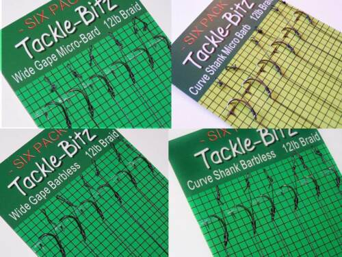 12 Carp hair rigs /& Baiting Needle Set fit safety lead weight clips Hook Choices