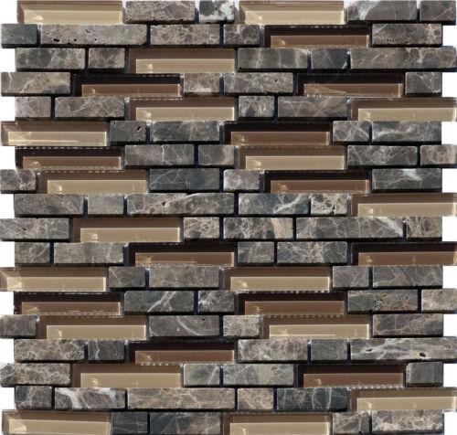 Glas Stein Mosaik Braun Line 15 Granit Marmor Fliesen Naturstein Bad Sanitär
