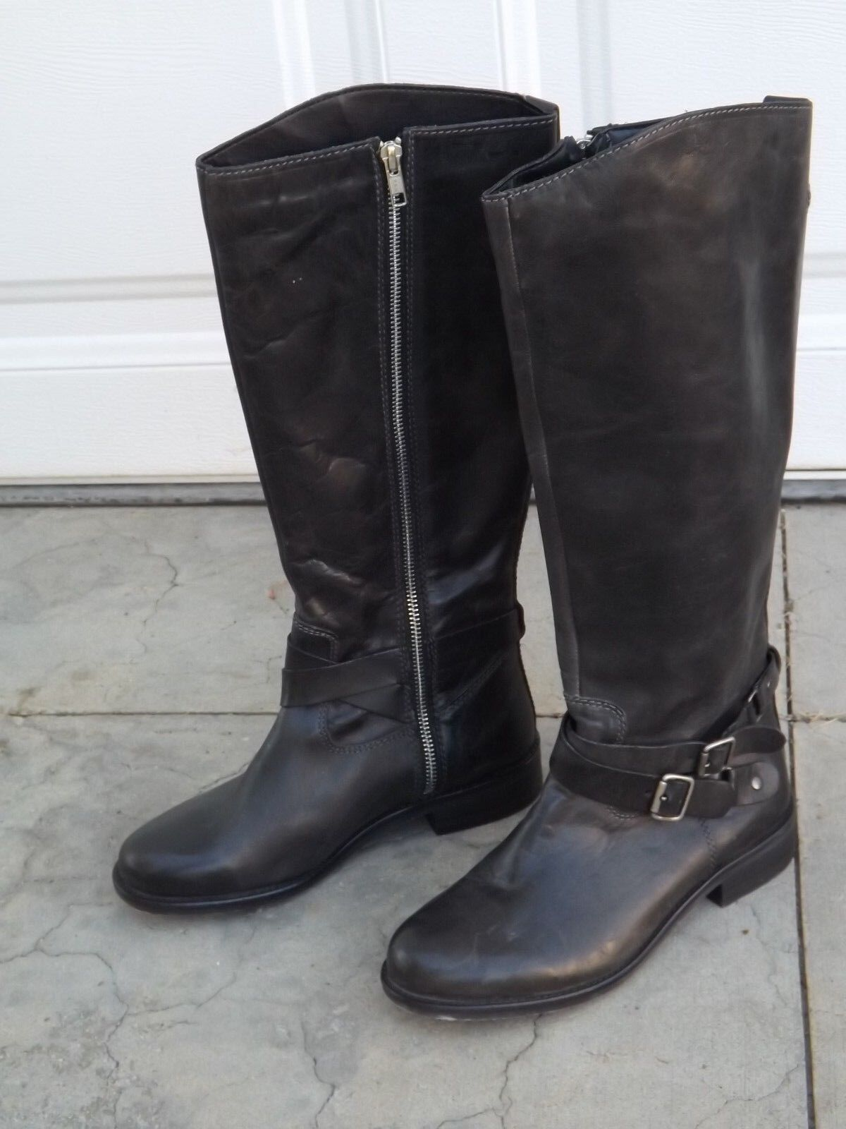 WOMENS NORDSTROM  KNEE HIGH BLACK LEATHER BUCKLE ZIPPER BOOTS SZ 7.5