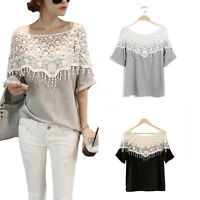 2015 Lady Hollow Lace Crochet Neck Loose Batwing Short Sleeve T Shirt Blouse Top