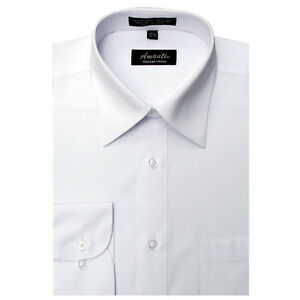 Mens-Dress-Shirt-Plain-White-Modern-Fit-Wrinkle-Free-Cotton-Blend-Amanti-Spread