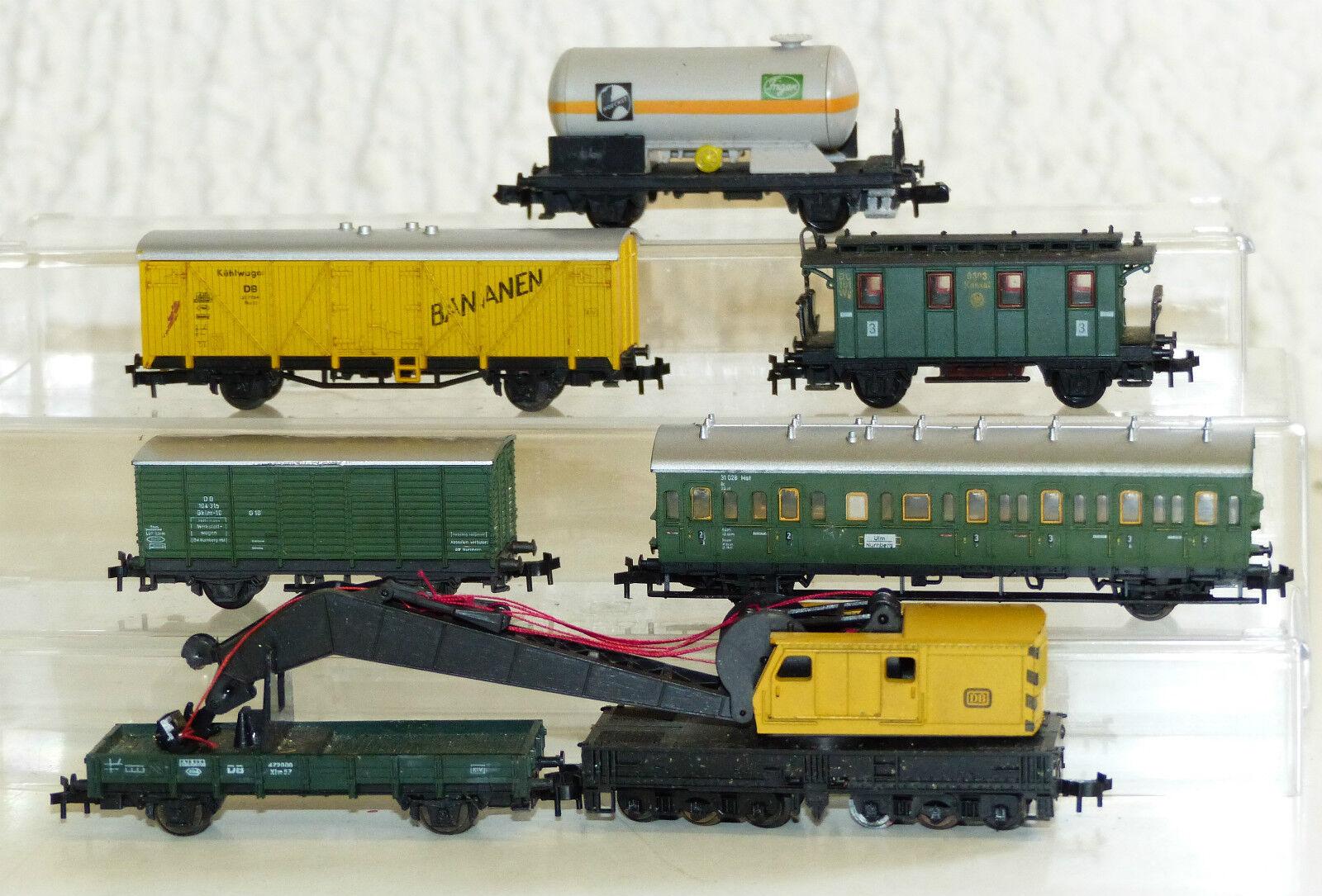 7x carri merci U. vetture passeggeri: Arnold, Trix gru automobili, caldaie carro, banane