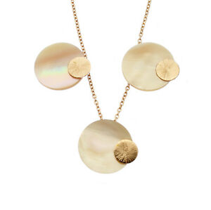 Mother of Pearl Pendant & Earring Set Sterling Silver or Rose Gold Discs