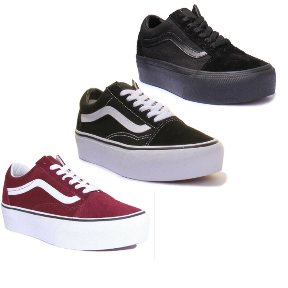 Vans Old Skool Sneaker Platform Donna in Pelle Scamosciata Tela Scarpe Da Ginnastica Bianco Nero Taglia