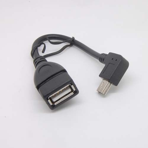 90Degree right Angle Mini 5pin USB Male to USB Female Charger Data Adapter cable