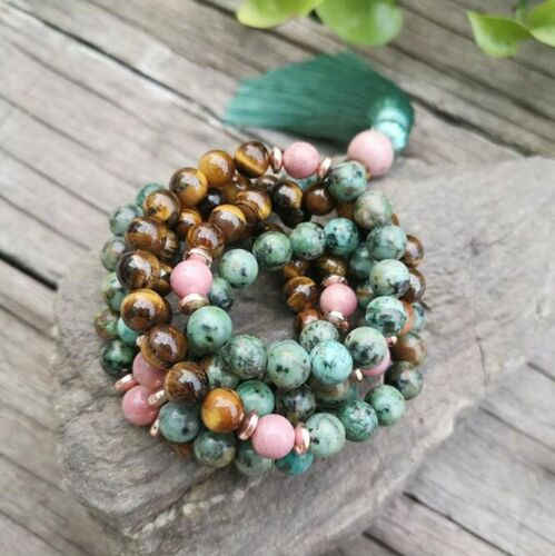 108Beads Africa Turquoise//Tiger Eye Gem Round Long Tassel Necklace Bracelet Set