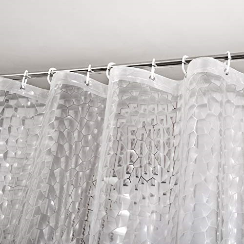 Eurcross Mould proof EVA Shower Curtain with 3D Cobblestone Pattern to Brighten