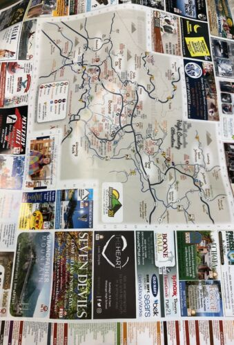 """2018 17.25"""" X 23.25"""" Watauga County NC Restraunts /& Attractions Map Double Sided"""