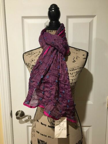 New J Jill Scarf Silk & Metallic Purple Cerise Scarf
