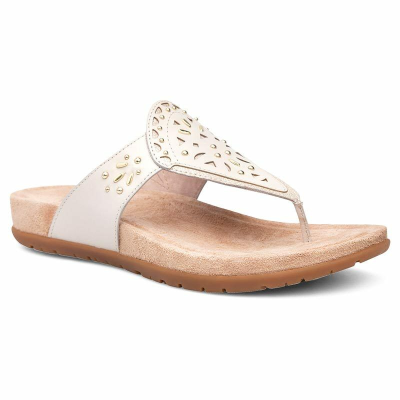 NIB Dansko Dansko Dansko Benita Thong Sandals Flip Flop Leather Embossed Ivory Women's 38 - 42 5763e6