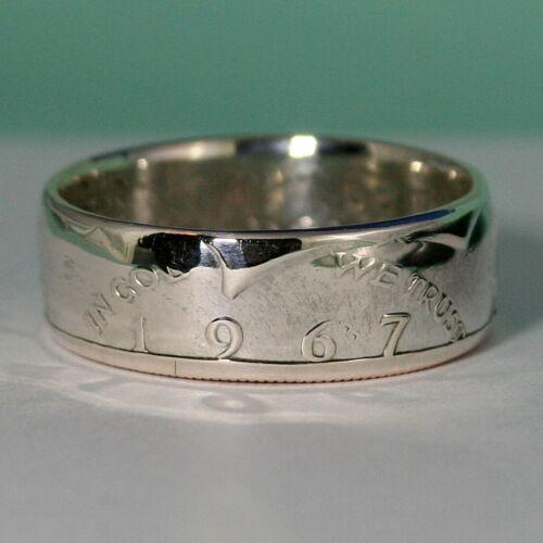 1966 Silver JFK Half Dollar COIN RING USA John Kennedy Size 7-13 1//2 Polished