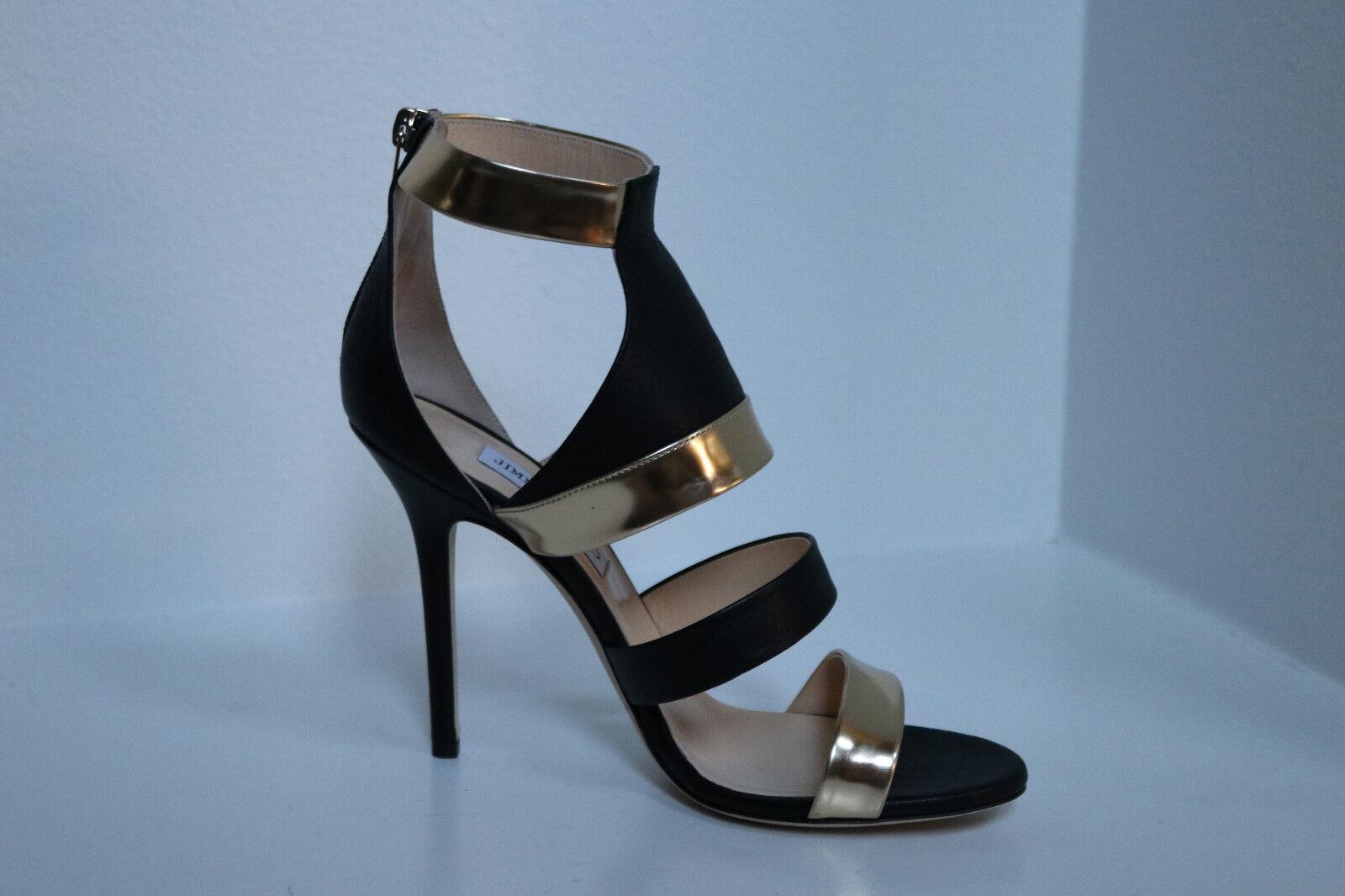New sz 9.5   39.5 Jimmy Choo Choo Choo Besso Black & gold Leather Ankle Sandal shoes 4539bc