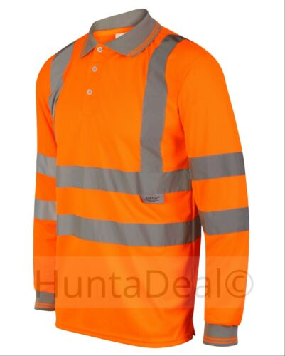 HI VIZ HIGH VISIBILITY LONG SLEEVE POLO SHIRT REFLECTIVE WORK SWEATER COLLAR NWT