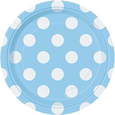 "Polka Dot 8 Round Paper PLATES {7""/18cm} (Decoration/Birthday/Party)"