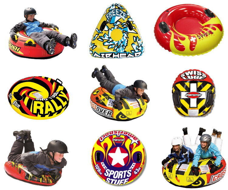 Sportsstuff Luge-Mature Snow Tube Tire Sled for Tobogganing Tube Bob