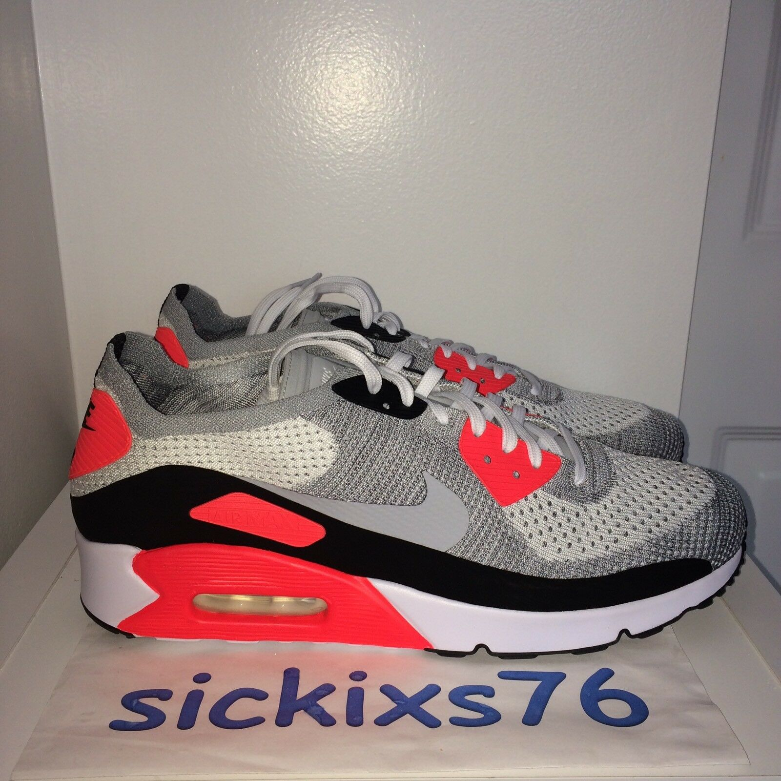 newest f6235 ccd72 DS Men's Nike AIR MAX 90 ULTRA 2.0 FLYKNIT 'Infrared' Sz 6/EUR 38.5 [875943  100]