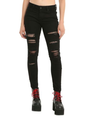 Blackheart Destructed Black Fishnet Skinny Jeans Pants Juniors Size 3 5 11 Nwt by Blackheart/Hot Topic