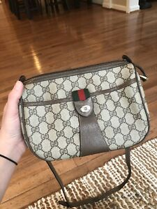 4f60474f1b69 Image is loading Gucci-Vintage-Brown-GG-Monogram-Canvas-Leather-Crossbody-