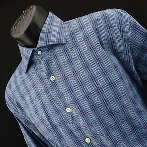 Mens-Peter-Millar-Crown-Comfort-Blue-Plaids-Oxford-Golf-Dress-Shirt-Size-Large-L