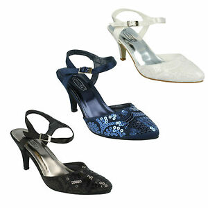 LADIES-SPOT-ON-BUCKLE-FASTENING-ANKLE-STRAP-SEQUINNED-COURT-SHOES-F9664