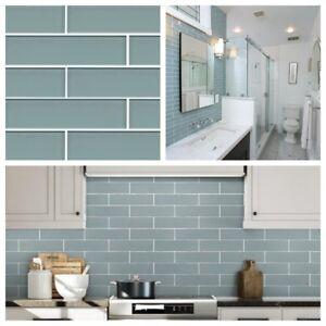 Aqua Blue Glass Subway Tile For Kitchen Bachsplash Bathroom Wall 3