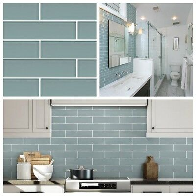 Aqua Blue Glass Subway Tile For Kitchen Bachsplash