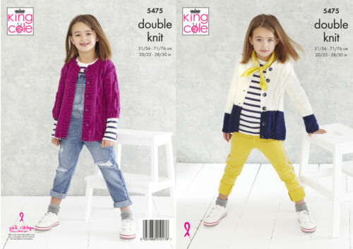 King Cole Girls Double Knitting Pattern Long or Short Sleeve Cable Cardigan 5475