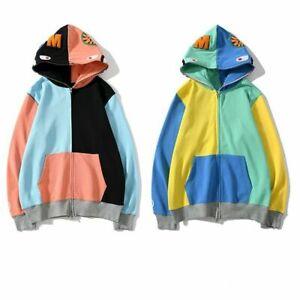 New Men/'s Bape Japan Camo Shark Hoodies Sweater A bathing ape Causal Jacket Coat