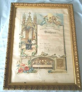 Antique Wood Picture Frame 1898 with German Confirmation Certificate
