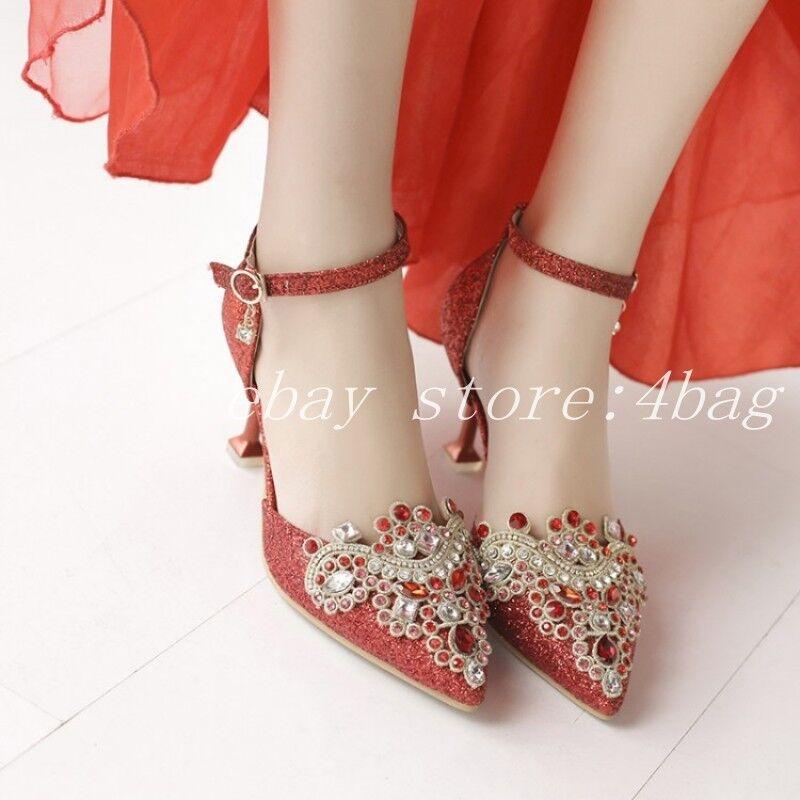 Mujer Zapatos De Tacón Gatito boda formal de de de diamantes de imitación y Correa en el Tobillo Zapatos Puntera Puntiaguda bombas  100% autentico