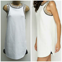 Ladies TopShop White Mini Party Dress Gold Sequins Sleeve Tunic Top Size: 8 & 10