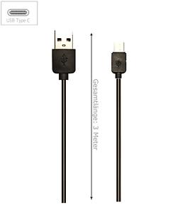 3-Meter-USB-Typ-C-USB-Ladekabel-black-fuer-Huawei-LG-OnePlus-amp-Lumia-schwarz-3m