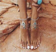 Women Summer Boho Silver Plated Multilayer Barfoot Sandal Beach Anklet 1Pc